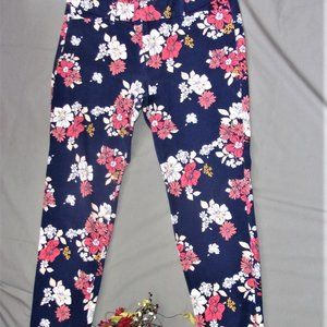old navy blue flower floral womens capris pants